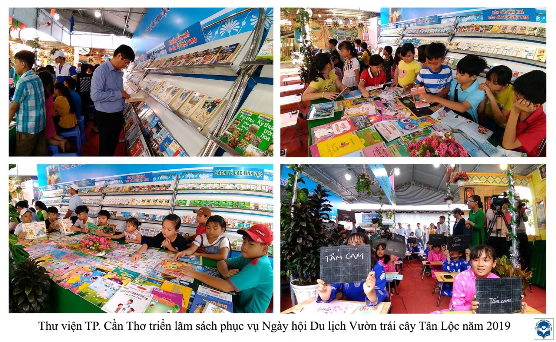 Hoạt động phục vụ sách - báo tại Ngày hội Du lịch vườn trái cây Tân Lộc năm 2019